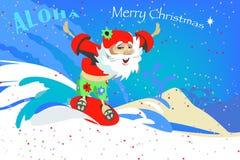 Santa Claus el vacaciones de la Navidad hace practicar surf Fotos de archivo libres de regalías
