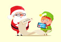 Santa Claus and Elf Checking out Gift List Icon vector illustration