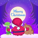 Santa Claus and Elf with Christmas goodies Royalty Free Stock Photography