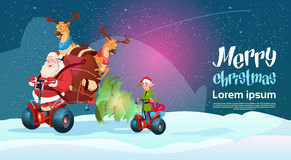Santa Claus Elf Deer Ride Electric Scooter Christmas Holiday Happy New Year Greeting Card Stock Photo