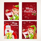 Santa Claus and Elf with gift on Christmas vertical banners set Stock Photos