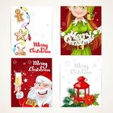 Santa Claus and Elf with gift on red Christmas vertical banners Royalty Free Stock Photo