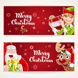 Santa Claus and Elf with gift on two Christmas horizontal banners Royalty Free Stock Image
