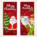 Santa Claus and Elf with gift on two Christmas vertical banners Royalty Free Stock Photos