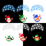 Santa Claus elf the  illustration eps of 10 assistants on a parachute from snowflakes.   gerl . `s  traditional suit. ` fami. Santa Claus elf the  illustration Royalty Free Stock Image