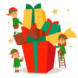 Santa Claus elf kids cartoon elf helpers vector christmas illustration children elves characters traditional costume. Family christmas kid holiday santa claus Royalty Free Stock Images