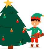 Santa Claus elf kids cartoon elf helpers vector christmas illustration children elves characters traditional costume. Family christmas kid holiday santa claus Royalty Free Stock Photos