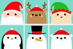 Santa Claus Elf Raindeer Deer Snowman-Bärn-Pinguinvogelgesichtshauptikonensatz Frohe Weihnachten Neues Jahr Nette Karikatur lusti stock abbildung