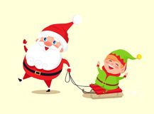 Santa Claus and Elf on Sledge Vector Illustration. Santa Claus and elf on sledge icon isolated on white background. Vector illustration with Santa having fun Stock Images