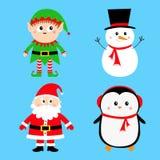 Santa Claus Elf Snowman Penguin-Satz Glückliches neues Jahr Frohe Weihnachten Roter grüner schwarzer Hut Nette Karikatur lustiges lizenzfreie abbildung