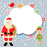 Santa claus and elf with speech bubble Royalty Free Stock Images