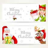 Santa Claus and Elf on two white Christmas horizontal banners Royalty Free Stock Photography