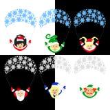 Santa Claus-Elfe die Illustration ENV von 10 Assistenten auf einem Fallschirmhimmel gerl ` s Familie elfs lokalisiert gegen das B Stockbild
