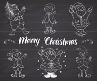 Santa Claus and elfs, gnomes Hand drawn set. Merry Christmas lettering. vector illustration on chalkboard. Stock Photos