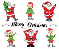 Santa Claus and elfs Hand drawn set. Merry Chistmas lettering. vector illustration. Royalty Free Stock Images