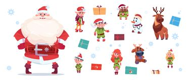 Santa Claus With Elfs Set Isolated Characters On White Background Happy New Year And Merry Christmas Holiday Concept. Flat Vector Illustration Royalty Free Stock Image