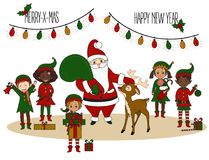 Santa Claus with elves and deer. Christmas Card stock illustration