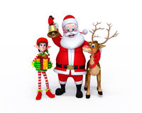 Santa Claus with Elves and reindeer Royalty Free Stock Photos