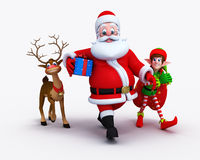 Santa Claus with Elves and reindeer Royalty Free Stock Images