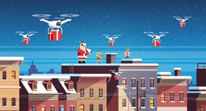 Santa claus with elves on roof hold controller drone delivery present service happy new year merry christmas holiday. Concept flat horizontal vector royalty free illustration