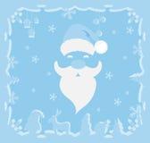 Santa Claus em um fundo azul Fotografia de Stock Royalty Free