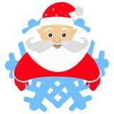 Santa Claus em um tampão vermelho sob a forma do floco de neve um ícone No fundo branco para a imprensa, camisetas, t-shirt, tela Foto de Stock Royalty Free