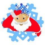Santa Claus em uma coroa azul da neve sob a forma do floco de neve um ícone No fundo branco para a imprensa, camisetas, t-shirt,  Fotos de Stock Royalty Free