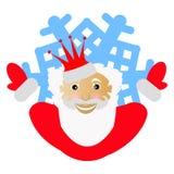 Santa Claus em uma coroa vermelha sob a forma do floco de neve um ícone às mãos da parte nos partidos No fundo branco para a impr Imagem de Stock
