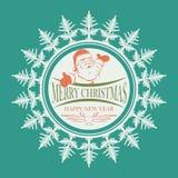 Santa Claus emblem inom snöflingor Arkivfoton