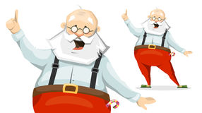 Santa Claus the emotional cartoon character in Slippers. Santa Claus raised his finger up and shares his brilliant idea Royalty Free Stock Images