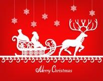 Santa Claus empaquettent la silhouette sur le fond rouge de texture Images stock