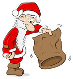 Santa claus with an empty bag Stock Images