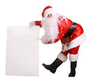 Santa Claus with empty banner. Isolated Stock Photos