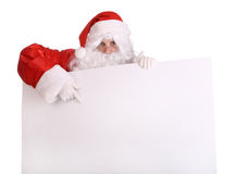 Santa Claus with empty banner. Isolated stock photography