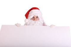 Santa Claus with empty banner. Isolated Royalty Free Stock Image
