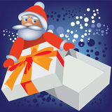 Santa Claus and empty box. Royalty Free Stock Photography