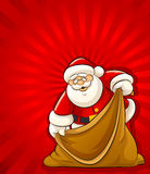Santa Claus with empty sack for christmas gifts stock illustration