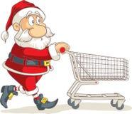 Santa Claus with Empty Shopping Cart Vector Cartoon Royalty Free Stock Photography