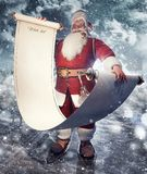 Santa Claus with empty wish list scroll, mock up Christmas background stock photos