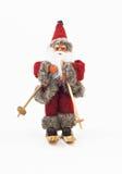 Santa Claus en árbol de los esquís un juguete aislado Imágenes de archivo libres de regalías