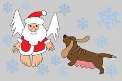 Santa Claus en Dierenriemhond Stock Foto