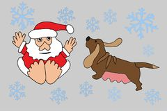 Santa Claus en Dierenriemhond Royalty-vrije Stock Afbeelding