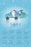 Santa Claus en el coche Imágenes de archivo libres de regalías