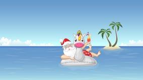 Santa Claus en el flotador inflable del unicornio disfruta de las vacaciones de verano ilustración del vector