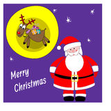 Santa Claus en herten met giften Kerstman Klaus, hemel, vorst, zak Stock Afbeelding