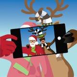 Santa Claus en het rendier nemen een selfie royalty-vrije illustratie