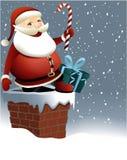 Santa Claus en Kerstmisschoorsteen Royalty-vrije Stock Foto's
