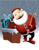 Santa Claus en Kerstmisschoorsteen Stock Afbeelding