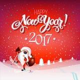 Santa Claus en los esquís con un bolso de regalos, paisaje nevoso Imagen de archivo