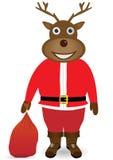 Santa Claus en máscara de los ciervos de la Navidad Foto de archivo libre de regalías